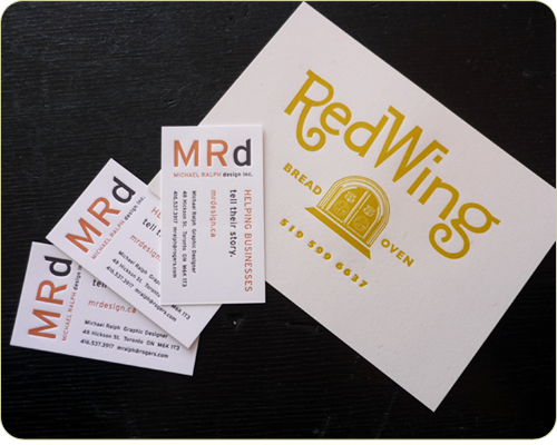 business cards from a local designer and a promotional postcard for a country bakery